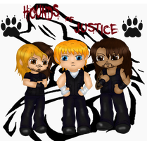 Chibi Hounds of Justice colored with wolf by Fallonkyra