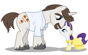 Filly Rarity and her Dad by anarchemitis