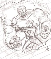 Hulk and Black Widow sketch. by scootah91