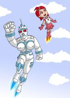 Big Gall and rusty girl robot by chaos-07