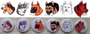 Ginga Nagareboshi Gin badges by Tedimo