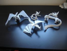 Mega Complex Origami Dragons by origami-artist-galen
