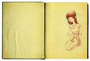 girl with cat by mutsy