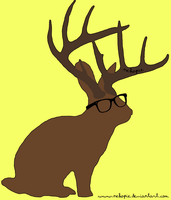 jackalope with hipster glasses by Nekopie