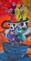 Captain Hook, Cruella and Hades in Tea Cup by billywallwork525