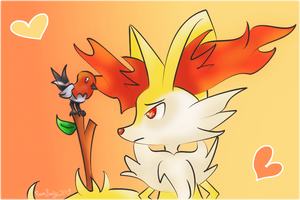 [ Braixen + Fletchling ] by Sayue