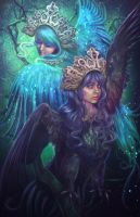 Sirin and Alkonost by LiliaOsipova