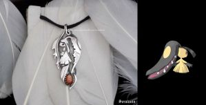 'Mawile', handmade sterling silver pendant by seralune