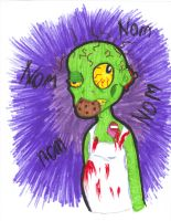 Zombie eating a cookie by josey629
