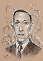 H.P. Lovecraft by zombiecarter