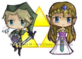 Chibi Link and Zelda by L0C0CH0C0B0