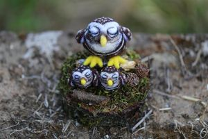 Mama and Baby Owls by LaVolpeCimina