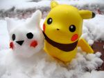 pikachu and snowchu by picniklife
