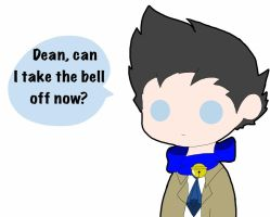 Castiel wearing a bell! by AssassinWolf1313