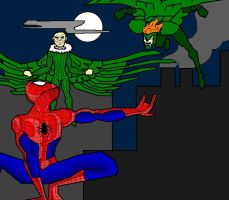spiderman vs the birdguys by j0epep