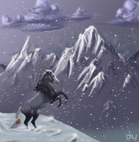 Storm on a Gloomy Mountain by Edenfur
