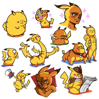 ALL THEM PIKACHUS by captainosaka