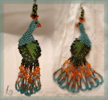 Peacock Earrings by alena-light