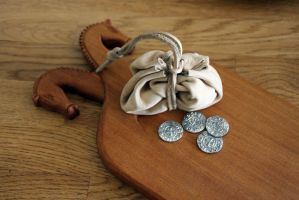 Coins and pouch by Dewfooter