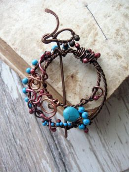 Copper and turquoise brooch by Lirimaer86