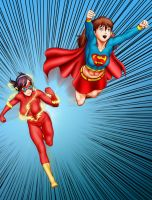 Race - Supergirl/Asuka and Flash/Mari by OrionPax09