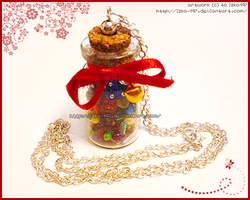 Hand Made Colorful Necklace: Bottle of Treasures by izka-197