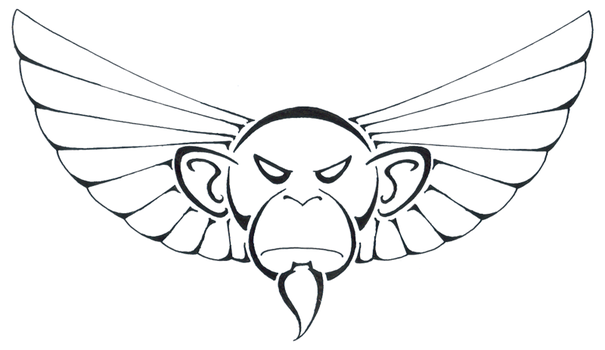 Winged Ape Head by Mystillate