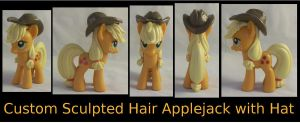 Custom Sculpted/Hard Hair Applejack with Hat by Gryphyn-Bloodheart