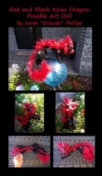 Red and Black Asian Dragon Posable Art Doll by Eviecats