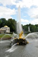 Peterhof Fountain near St Petersburg by wildplaces