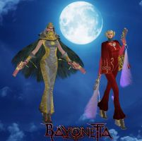 Bayonetta and Jeanne Medieval (old) Outfits by artemismoonguardian