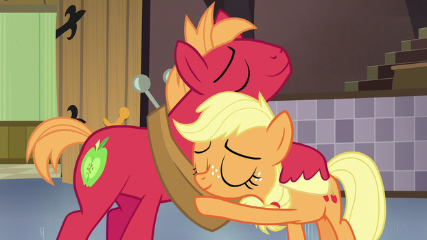 Young Applejack and Big Macintosh Hug by Dreamman001