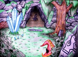 A Cave, A Tree, And Some Crystals by Jarel-Sayalang