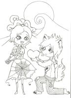 My Beloved Monster and Me (uncoloured) by mlatimerridley