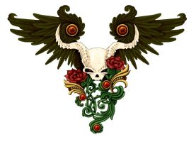 Skull and Wings - coloured by Annikki