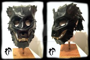 Bear leather helmet by Feral-Workshop