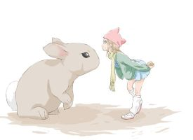 A Girl and a Bunny Colored by bryansayshi