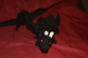 Crocheted Black Dragon by YarnHoardingDragon
