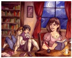 Trio in the Library by Luthie13