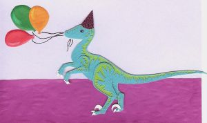 Birthday Velociraptor by Confettibird