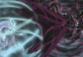 Mewtwo vs Giratina by eclipse4d