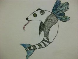 Panda, dolphin, dragonfly, frog by EleeArt