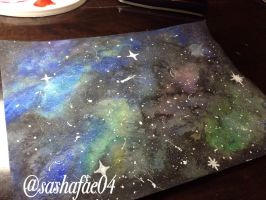 Galaxy Watercolor Painting by Sashie04