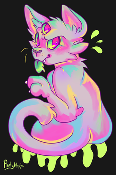 Artfight - Teevz's Acid Cat by Pinktiddlywink