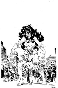 Zombie She-Hulk Finished Inks by MikeMarsArt