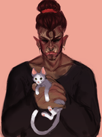 Orc Man With Kitty Kat by Pulse-of-Gravity
