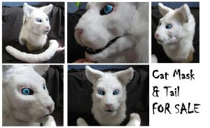 White Cat Mask by CuriousCreatures
