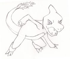Charmeleon Sketch (Pokemon) by lordgarth6