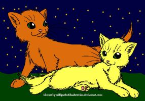 Firestar and Sandstorm by DemonicVampyreWolf