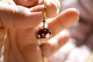 Tiny Toadstool Earrings by Pinkatron2000